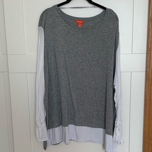 Gray with White Sleeves Blouse | size 3x